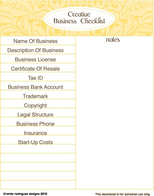 RRD Business Checklist
