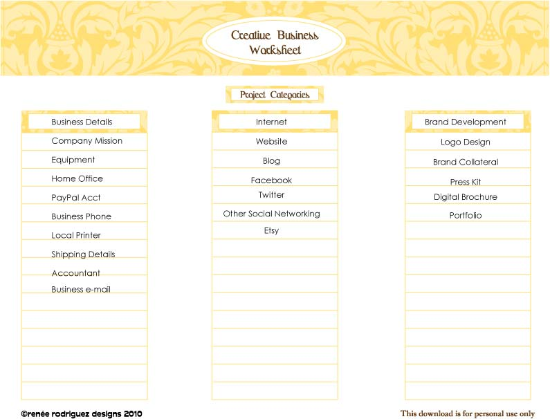 A List and A Latte Business Plan Worksheet renee rodriguez designs – Business Plan Worksheet